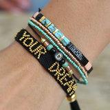 Bead bracelet set metallic_