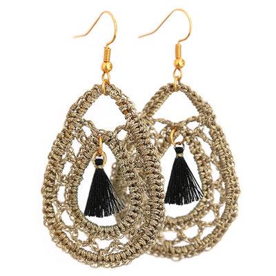 Ohrringe Crochet gold/black