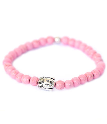 Buddha Armband pink stone