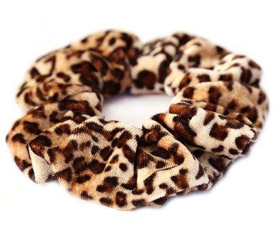 Velvet scrunchie leopard braun
