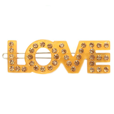 Haarspange love yellow strass