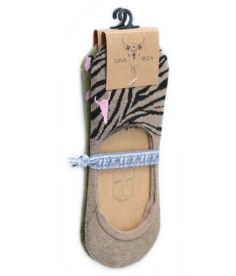Sneaker Socken (2er Pack) Olivgrüner Leopard und Taupe Zebra