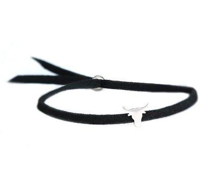 Buffalo armband silver black