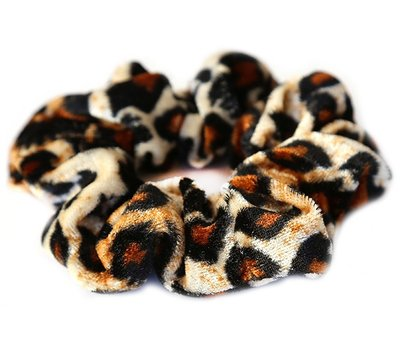 Velvet scrunchie leopard blond
