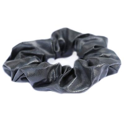 Scrunchie faux leather grey