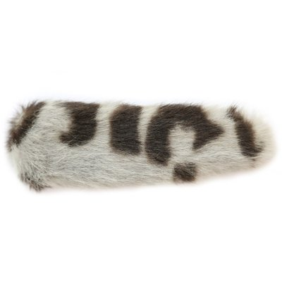 Haarspange faux fur leopard grey