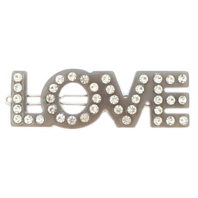 Haarspange love grey strass