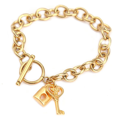 Armband lock and key gold
