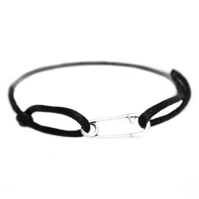 Safety pin bracelet silver black