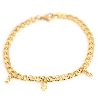 Moon heart star armband gold