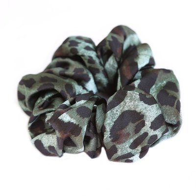 Scrunchie satin Leopard green