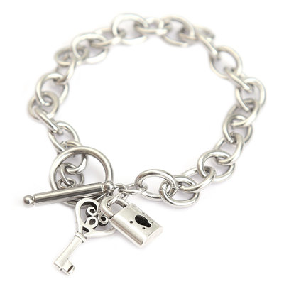 Armband lock and key silver