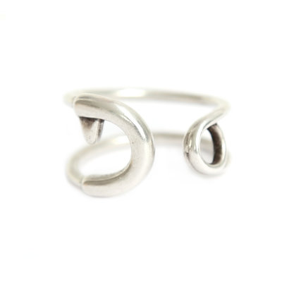 Ring safety pin silver