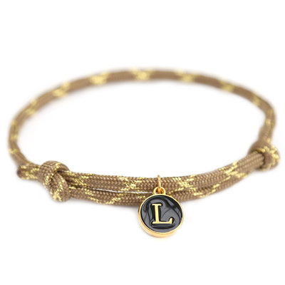 Armband brown gold initial