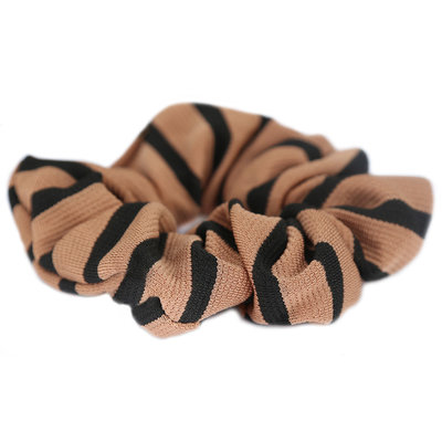 Scrunchie stripe camel black
