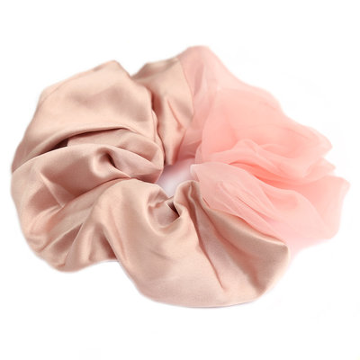 Scrunchie Large duo silk-chiffon rose