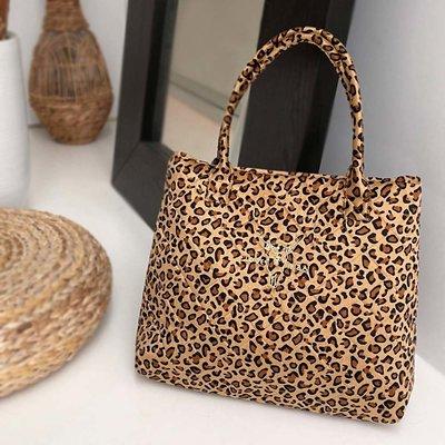 Leopard velvet Umhängetasche Medium