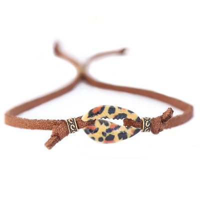 Muschelarmband Leopard braun