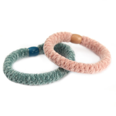 Set of 2 hairties pastel velvet
