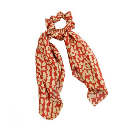 Scrunchie scarf silk red/creme