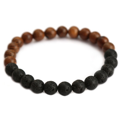 Men bracelet black lava and wood