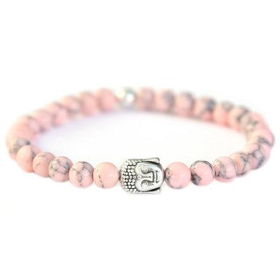 Buddha Armband soft pink stone