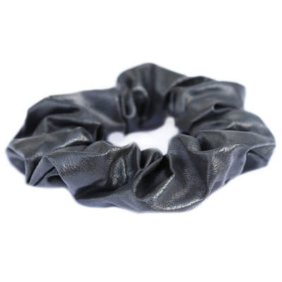 Scrunchie faux leather grey
