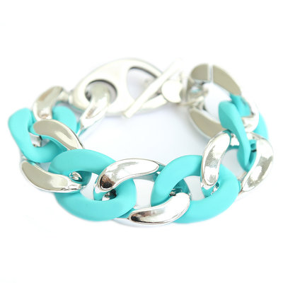 Armband large chain silber turquoise