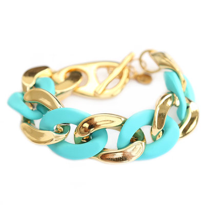 Armband large chain gold turquoise