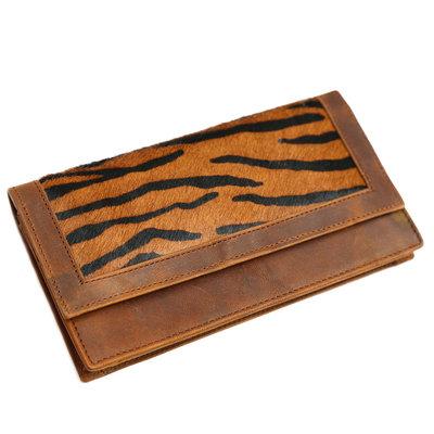 Lederfell Geldbörse dunkles Zebra