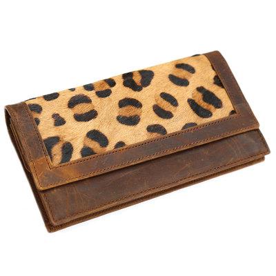 Lederfell Geldbörse Leopard