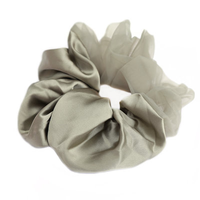 Scrunchie Large duo silk-chiffon olive