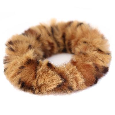Scrunchie faux fur leopard