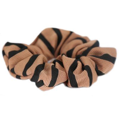 Scrunchie stripe camel black