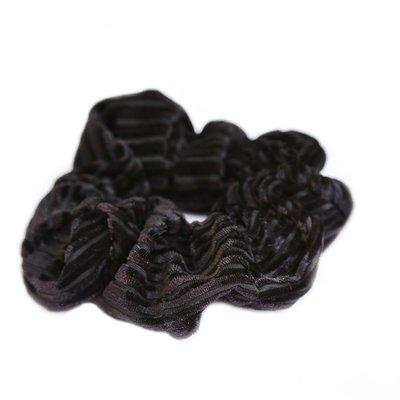 Velvet rib scrunchie black