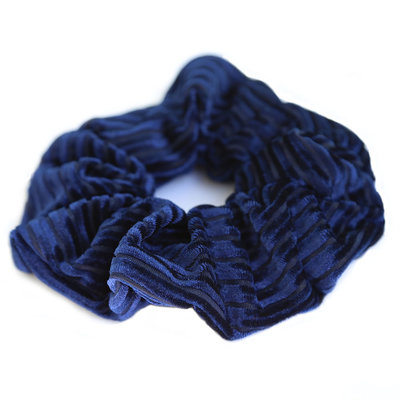 Velvet rib scrunchie blue