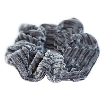 Velvet rib scrunchie Grey/blue