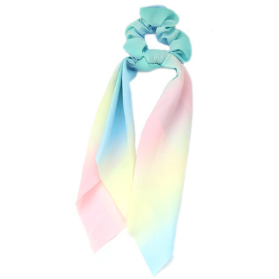 Scrunchie scarf light rainbow tie dye