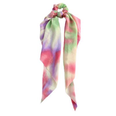 Scrunchie scarf rainbow tie dye