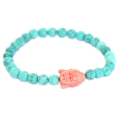 Buddha Armband turquoise coral