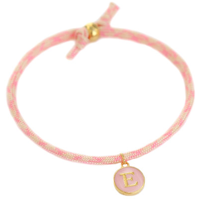 Initiale armband soft pink