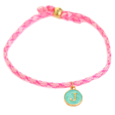 Initiale armband hot pink
