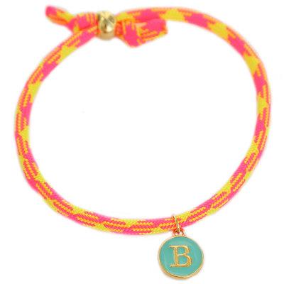 Initiale armband neon pink yellow
