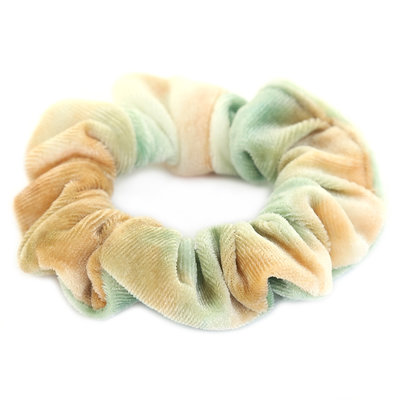 Velvet scrunchie tie dye green