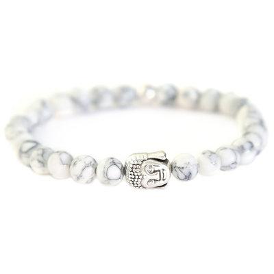 Buddha Armband arctic white stone
