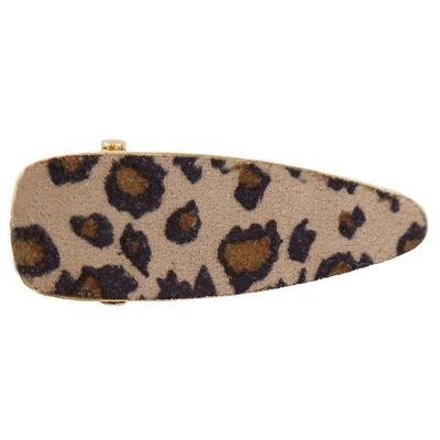 Statement haarspange velvet leopard beige