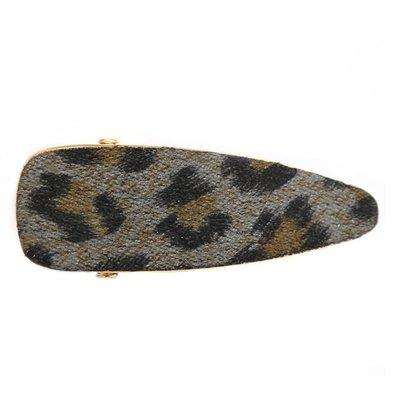 Statement haarspange velvet leopard grey