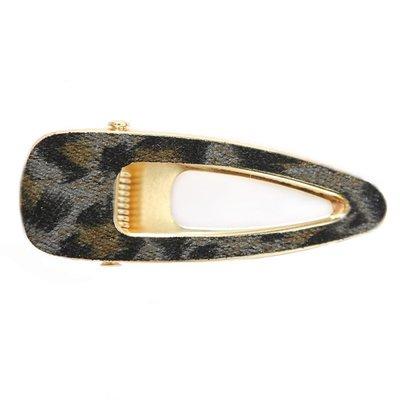 Statement haarspange velvet leopard open grey
