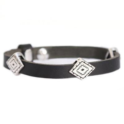 Indian tribe armband black (echt leder)