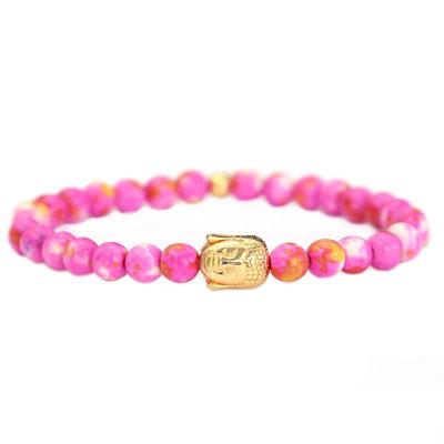 Buddha Armband pink gold stone